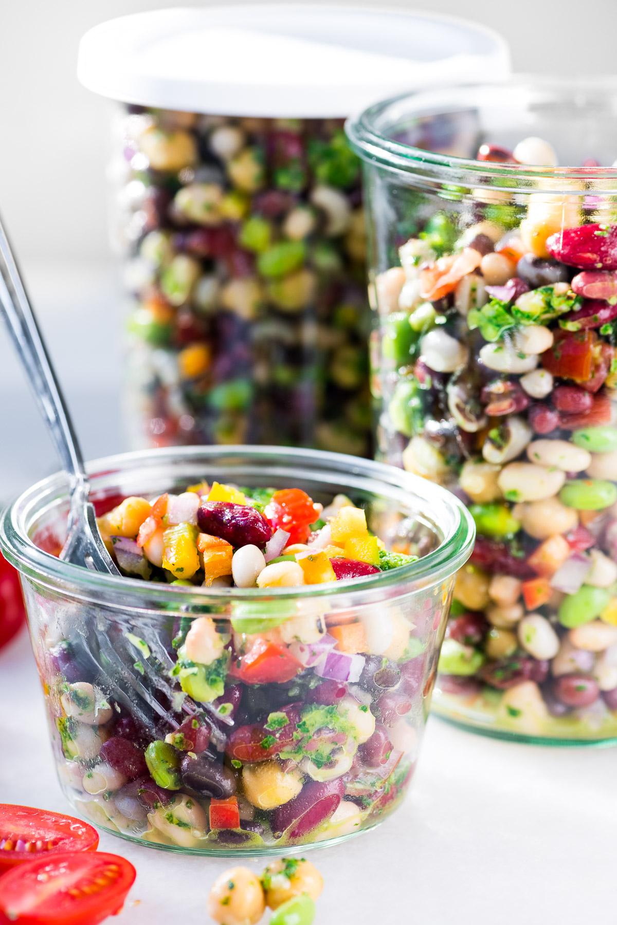 7 bean salad with chimichurri