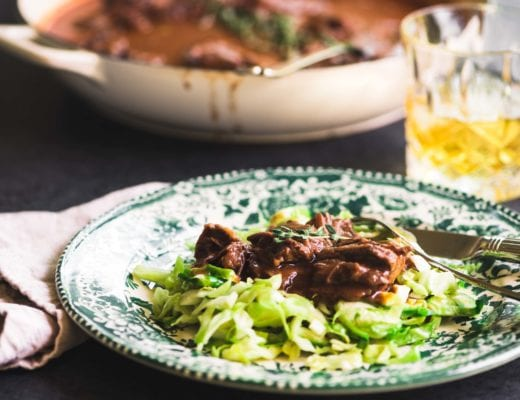 irish whiskey braised short ribs over cabbage