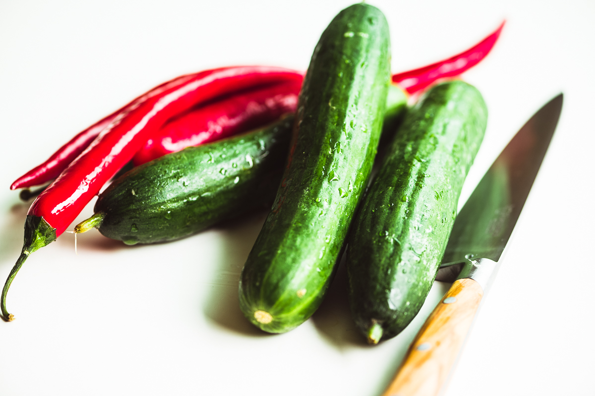 cucumbers and chilis
