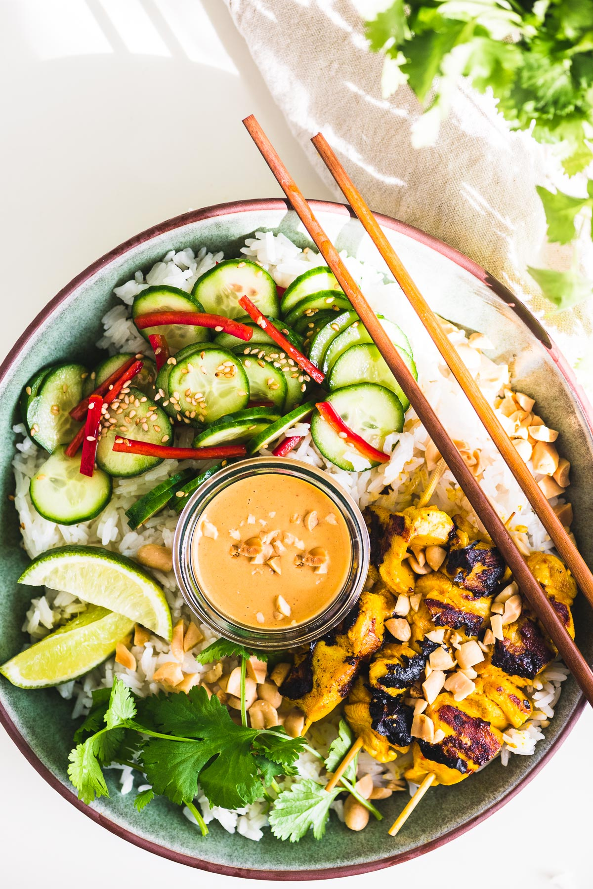 chicken satay bowl with peanut sauce