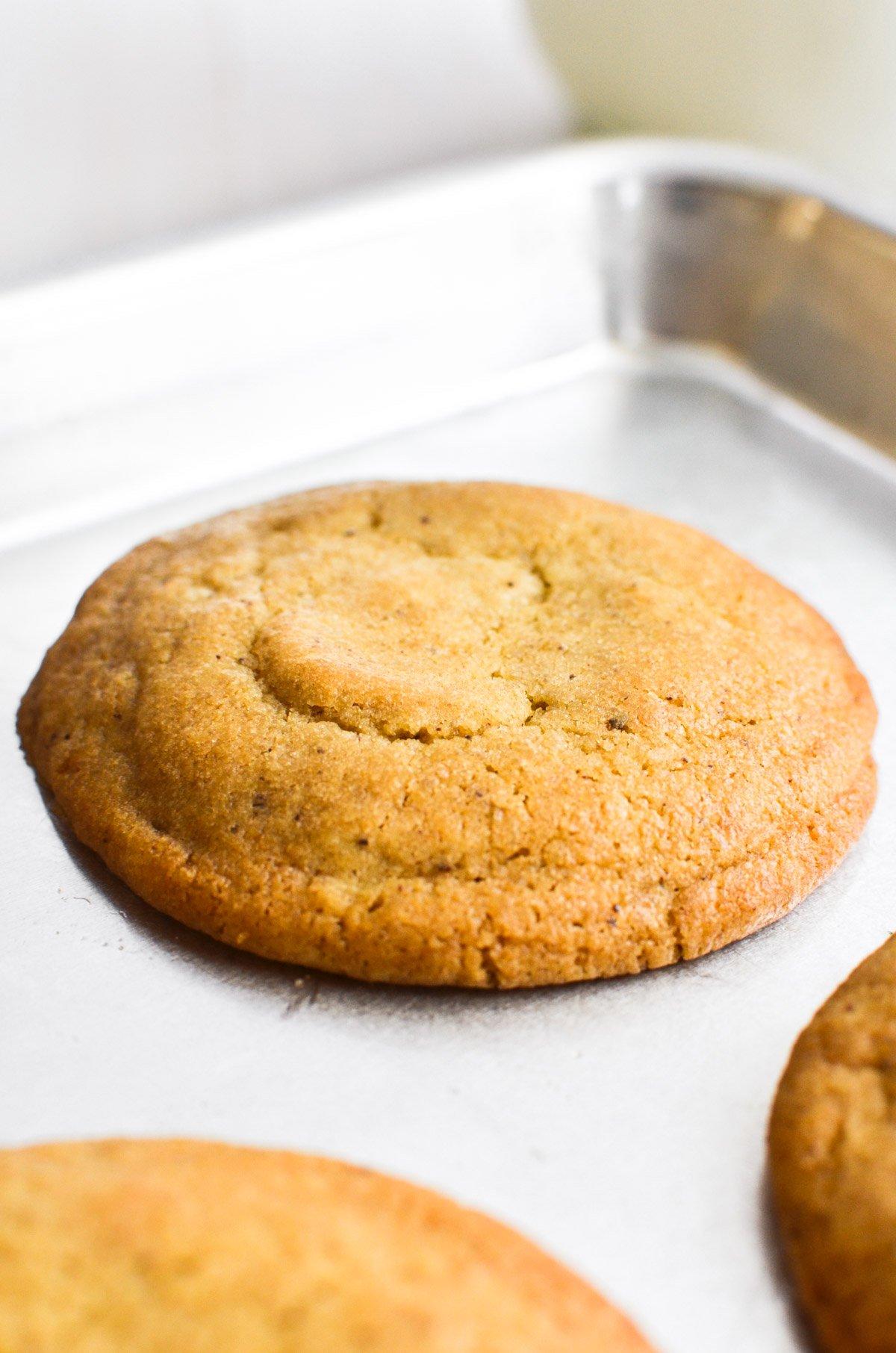 a plain butterscotch cookie on a cookie sheet