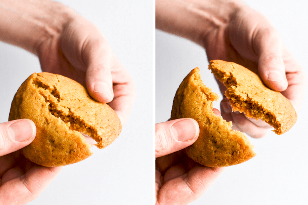 breaking apart a chewy chipless chocolate chip cookie