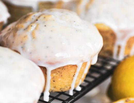 lemon poppy seed muffin with dripping glaze
