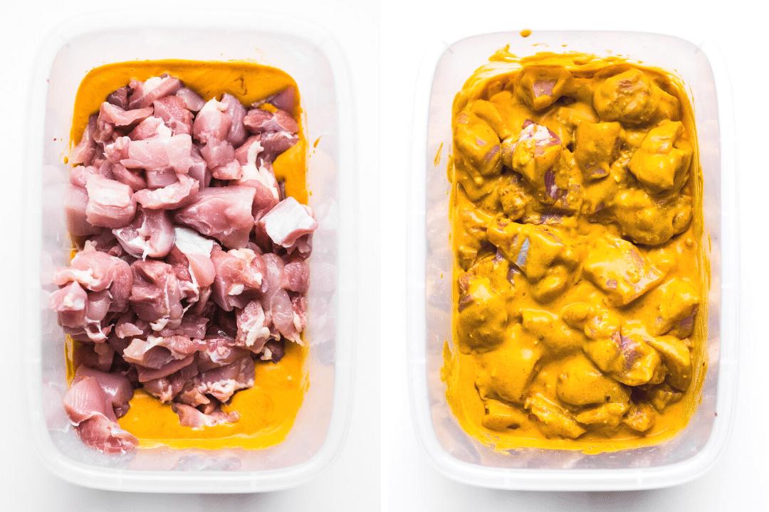 marinating Satay Chicken