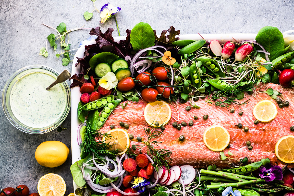 colorful spring salmon salad with yogurt dill dressing