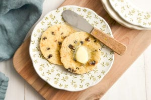 Welsh cakes with butter.