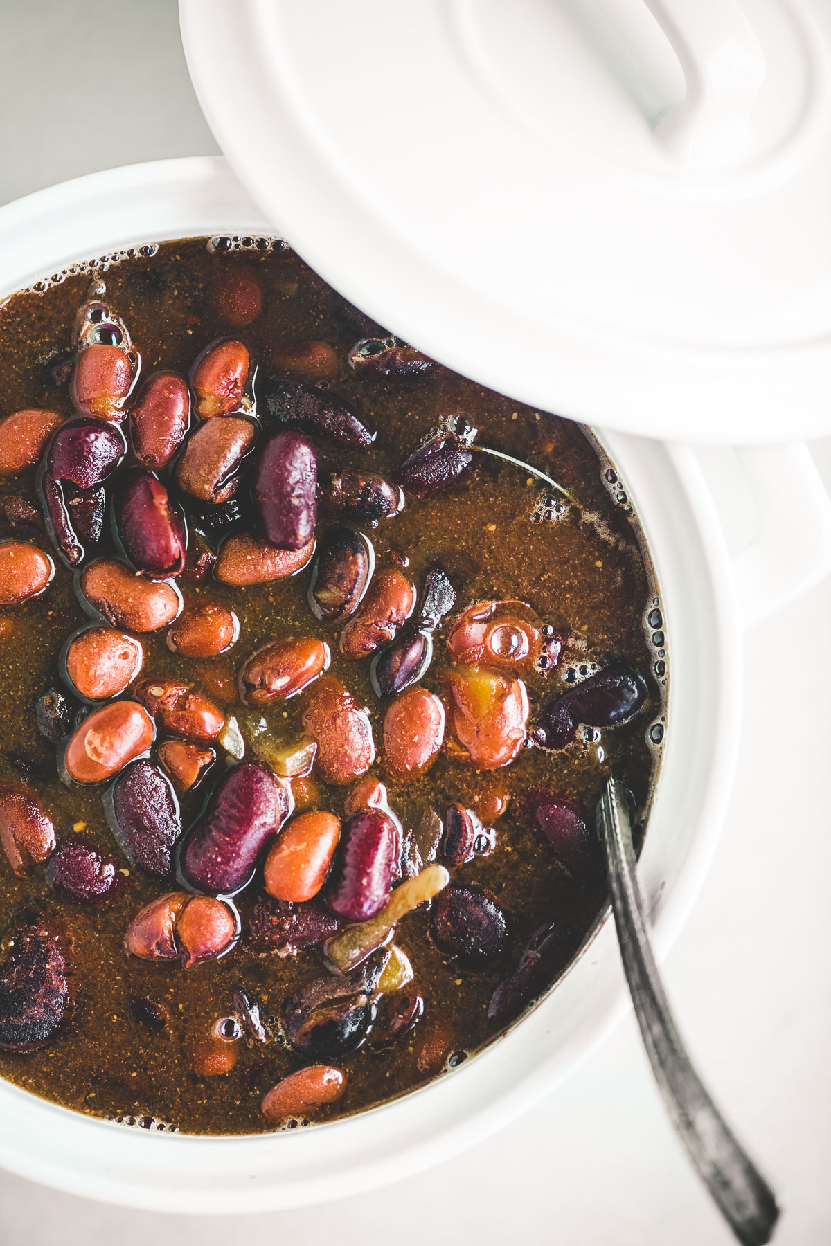 New England Baked Beans in a white pot