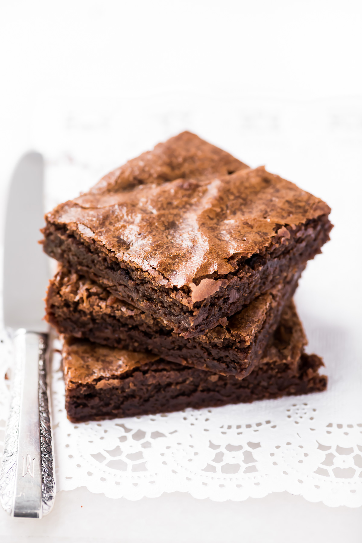 short stack of fudgy one bowl brownies!
