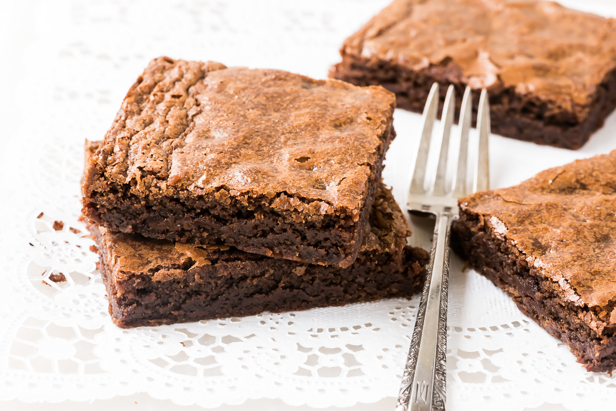 fudgy one bowl brownies with fork