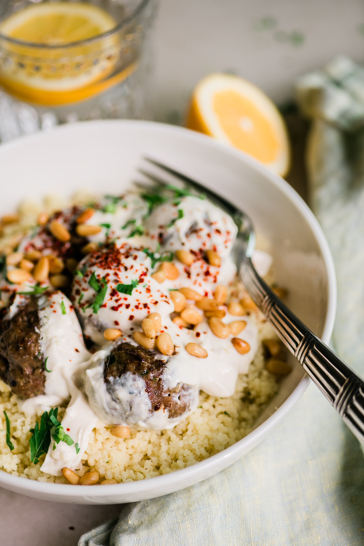 kofte meatballs with couscous and yogurt