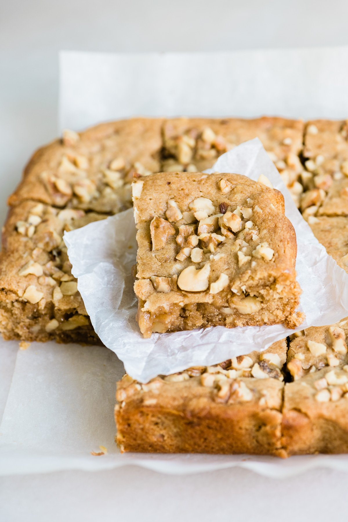maple walnut blondies, sliced and stacked