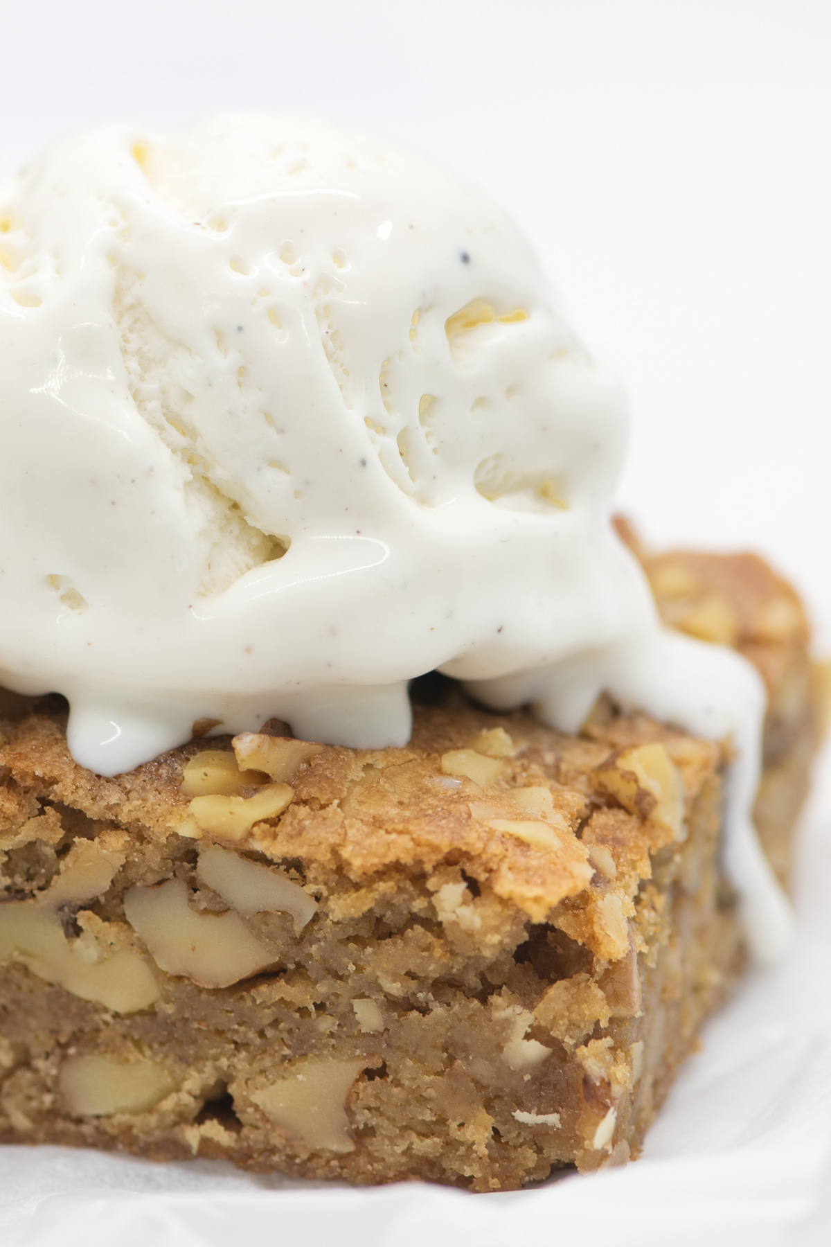 maple walnut blondie with a scoop of ice cream