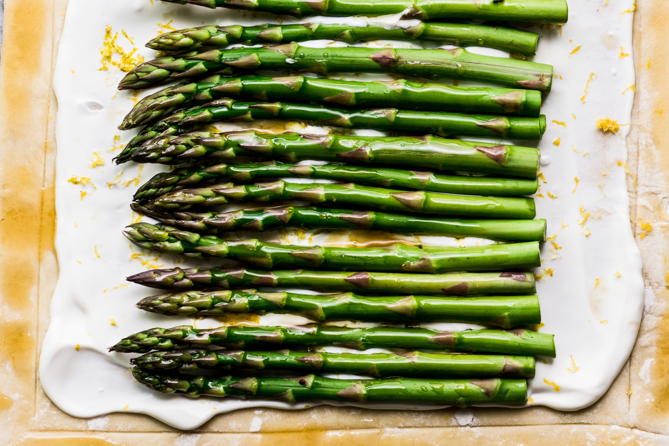 making an asparagus puff pastry tart