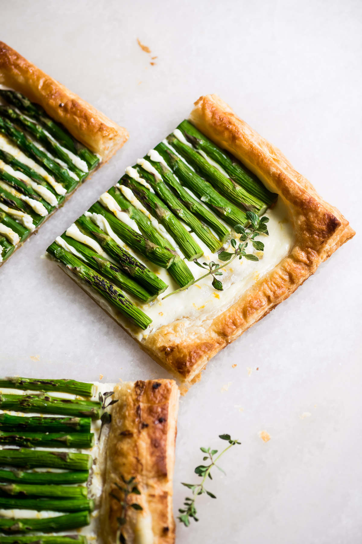 asparagus puff pastry tart, sliced