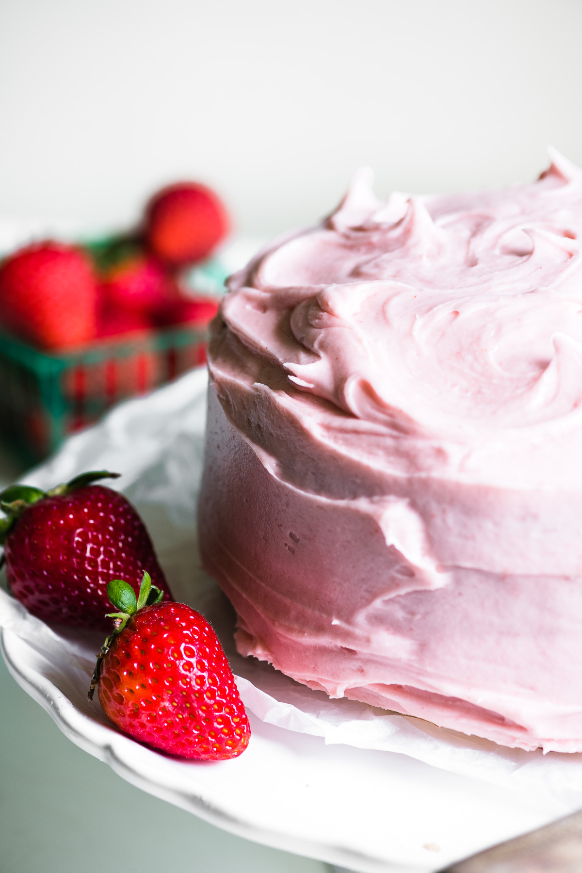 Strawberry layer cake with fresh strawberries