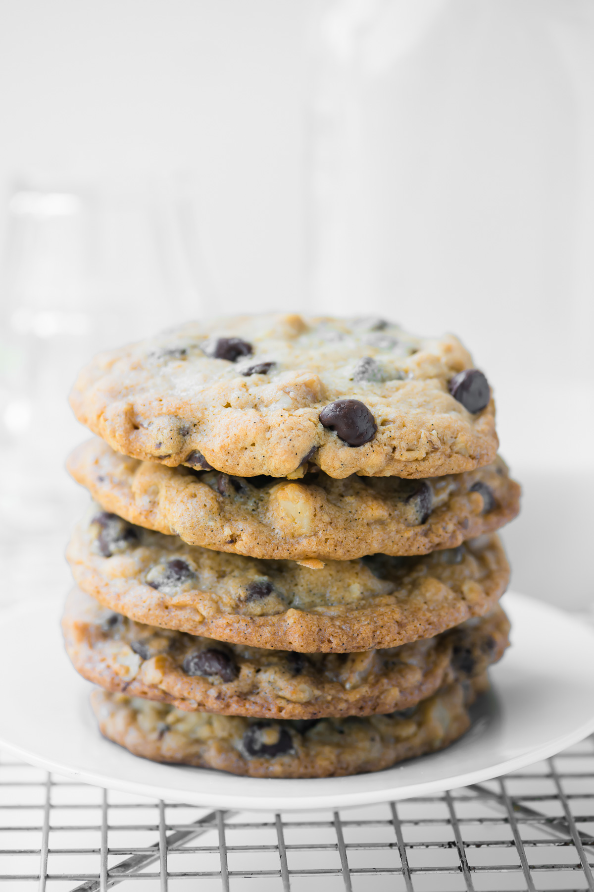 DoubleTree chocolate chip cookies, stacked