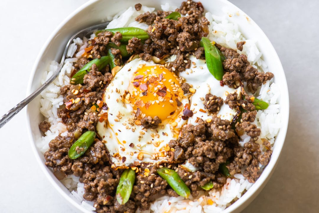 Korean beef bowl topped with an egg