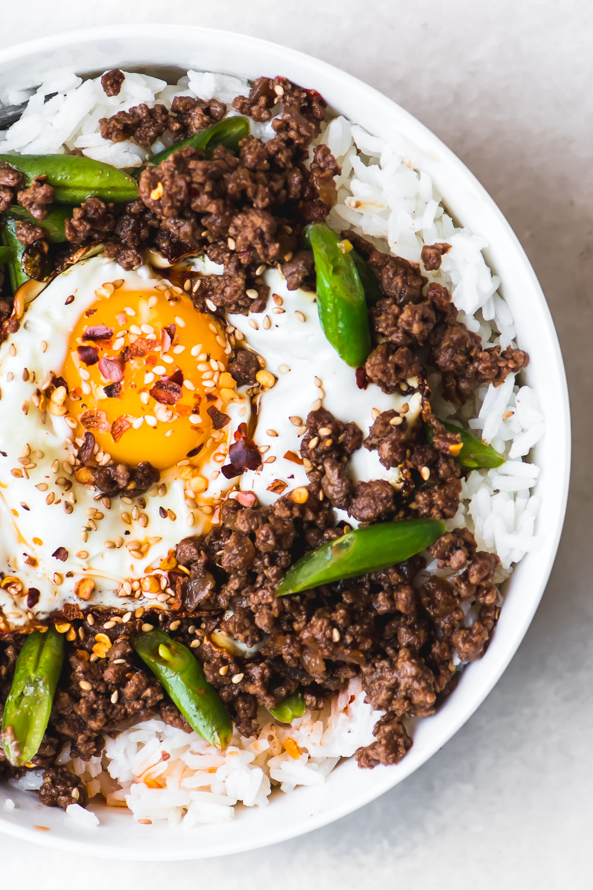 Korean rice bowl with a fried egg