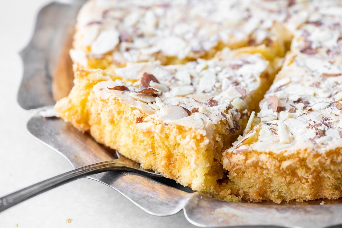 A slice of gluten free macaroon cake