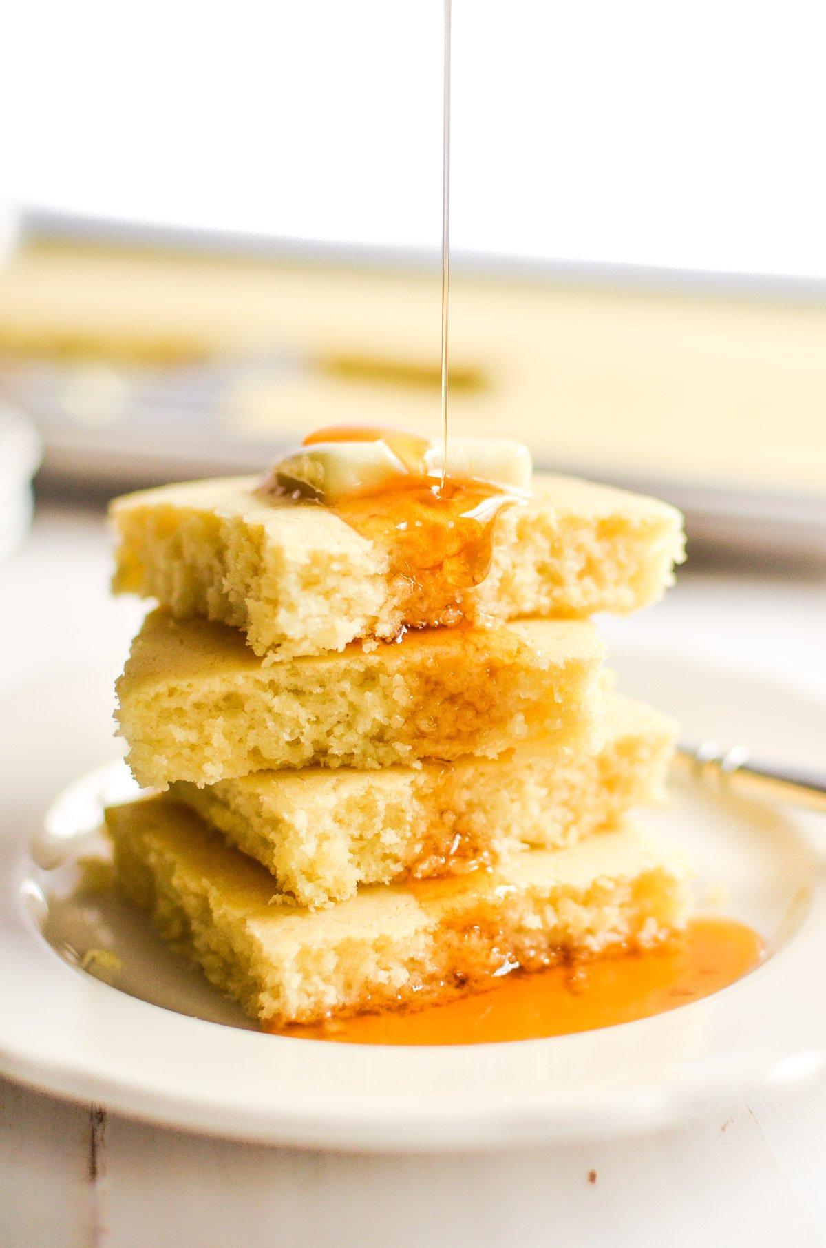 A stack of pancake squares.