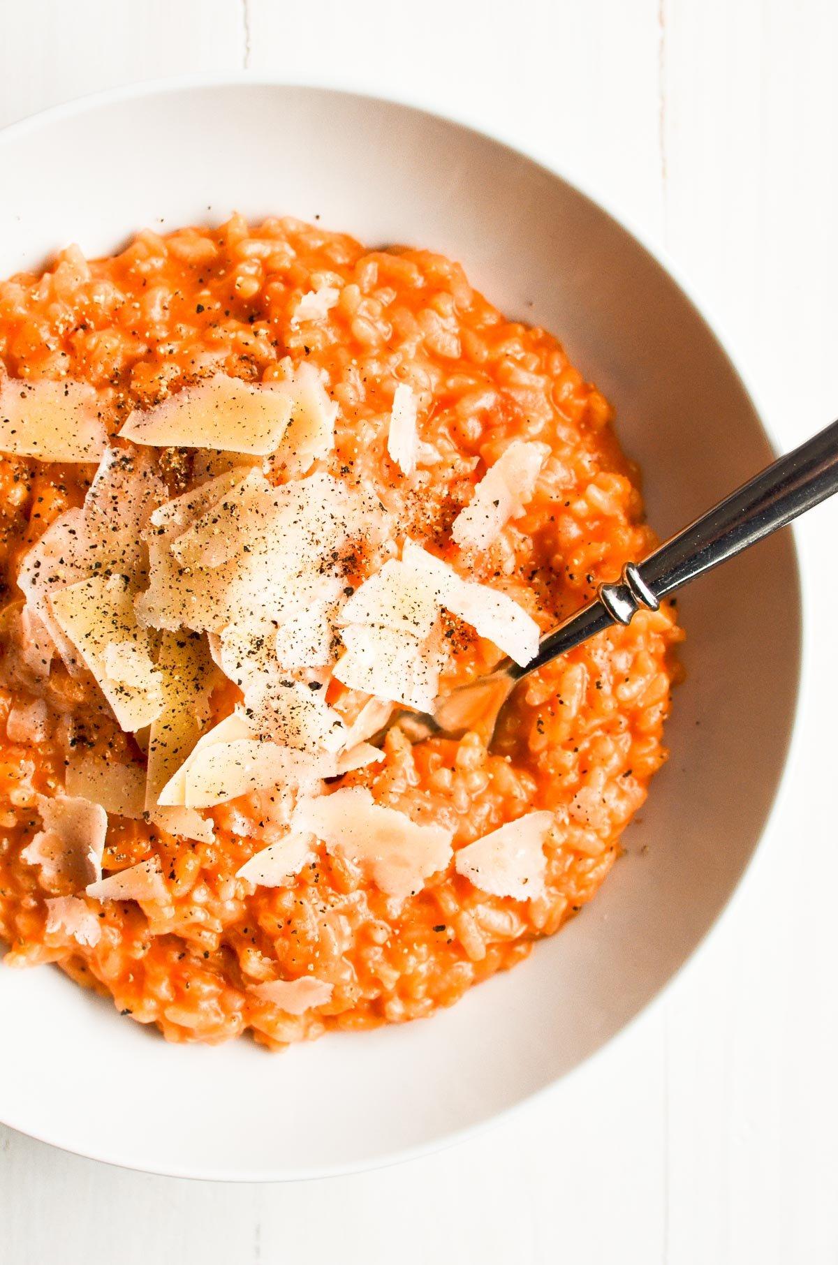 tomato risotto in a bowl