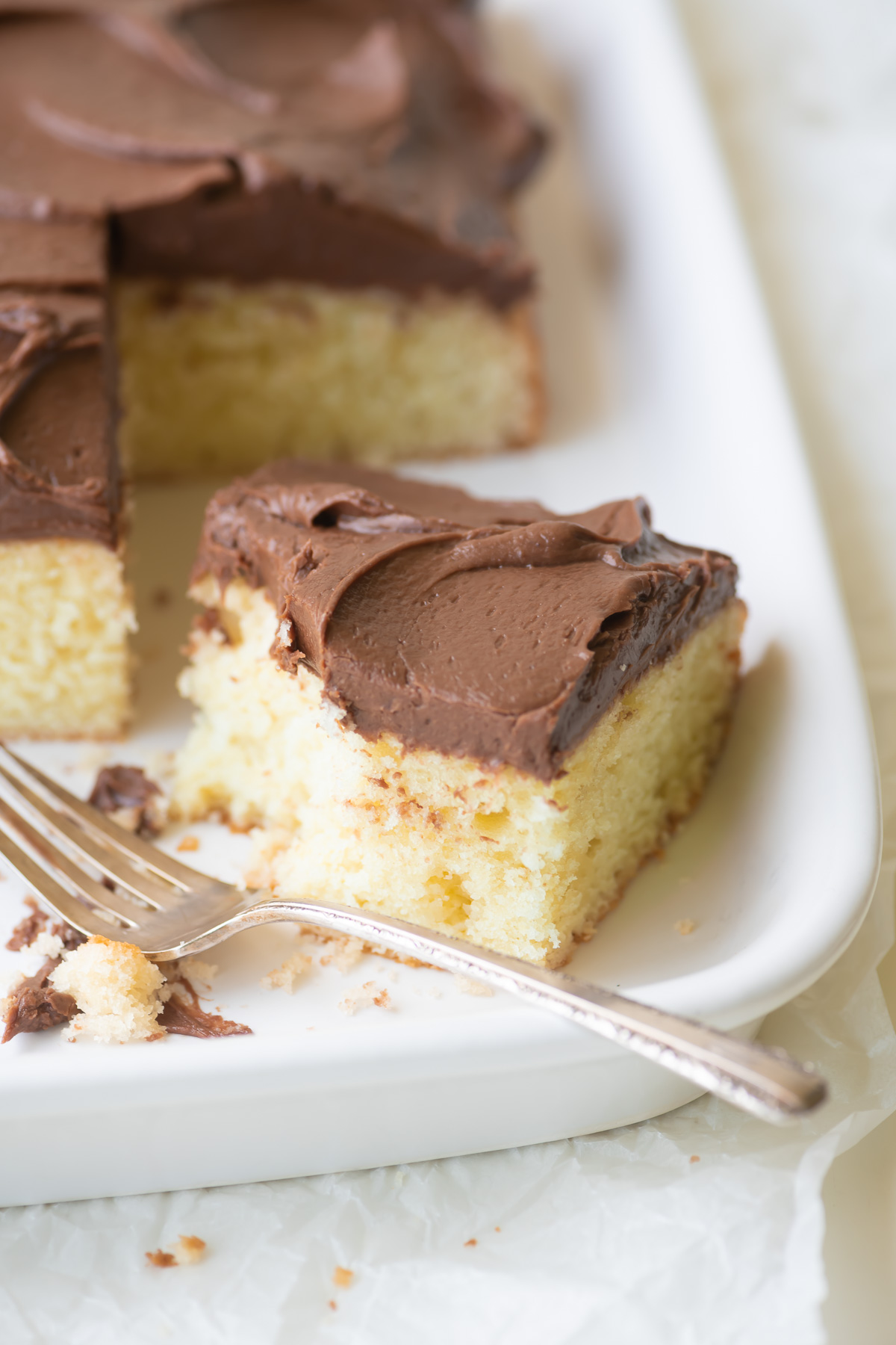 a piece of yellow cake with chocolate frosting