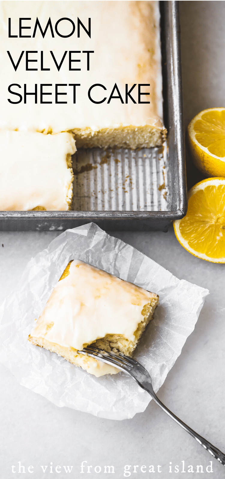 lemon velvet sheet cake pin