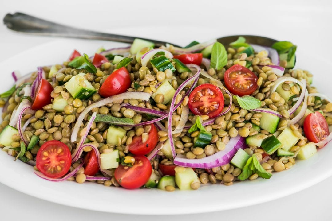 lentil and cucumber salad