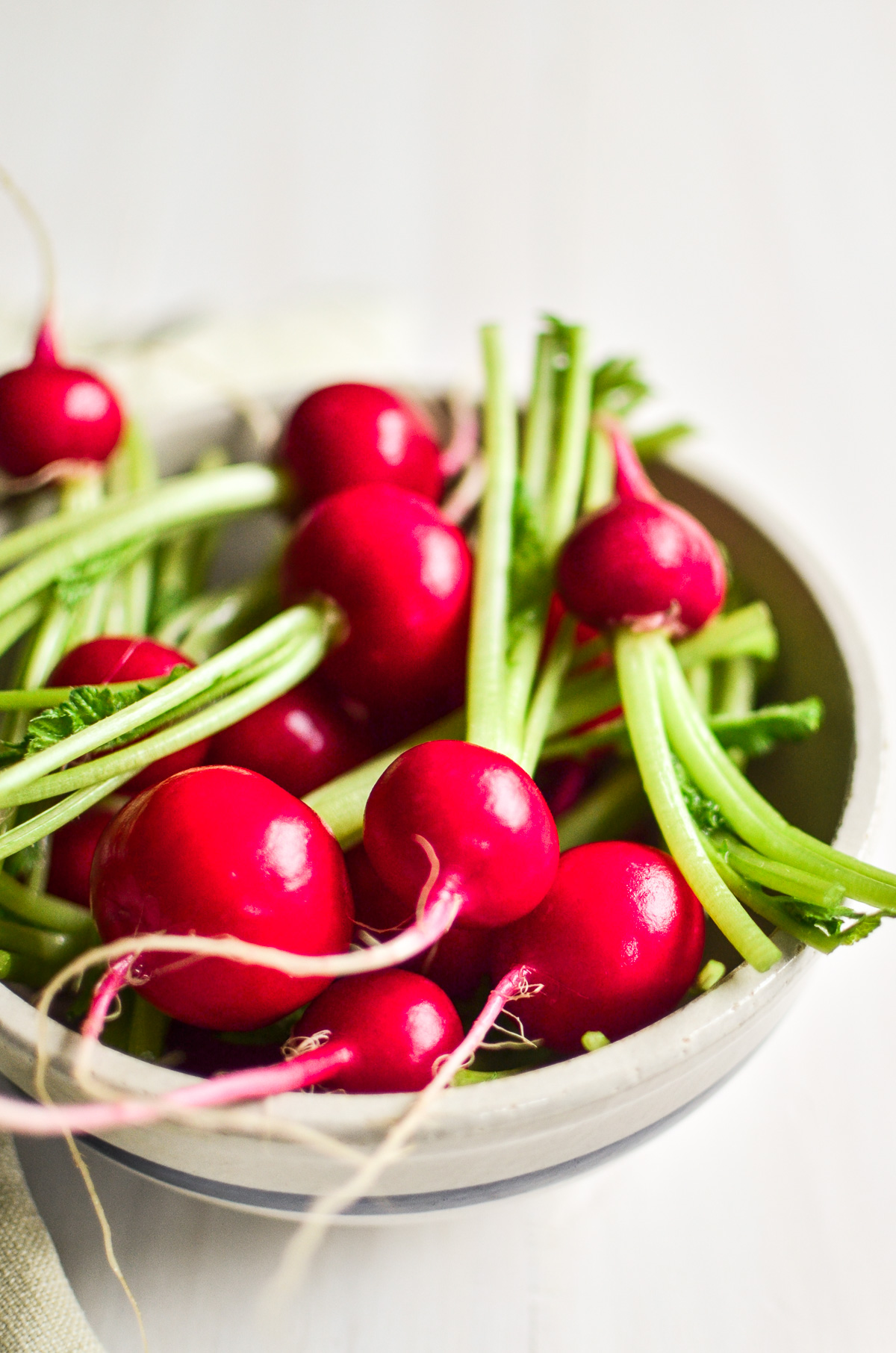 A bowl of fresh spring radishes