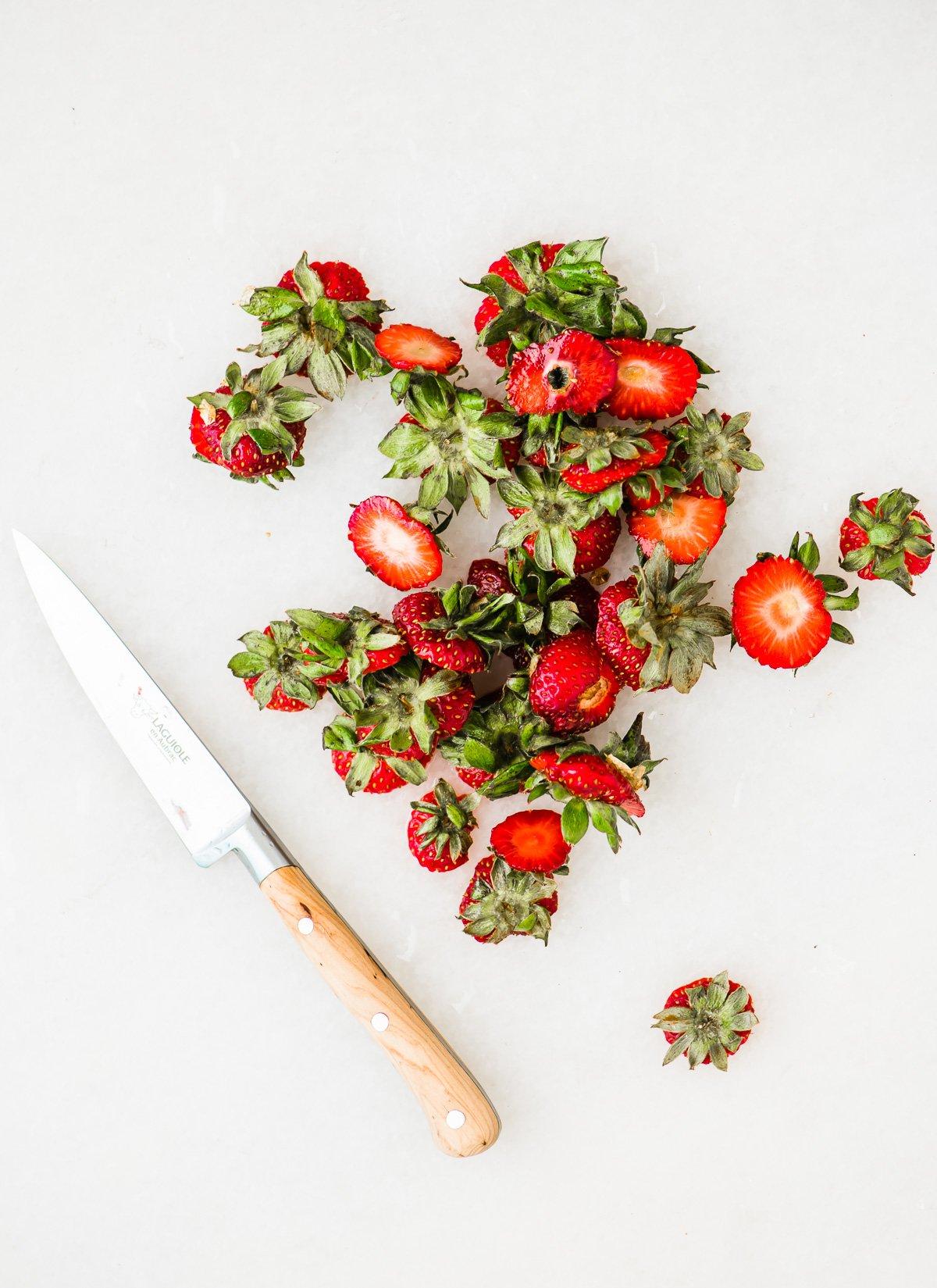 strawberry hulls