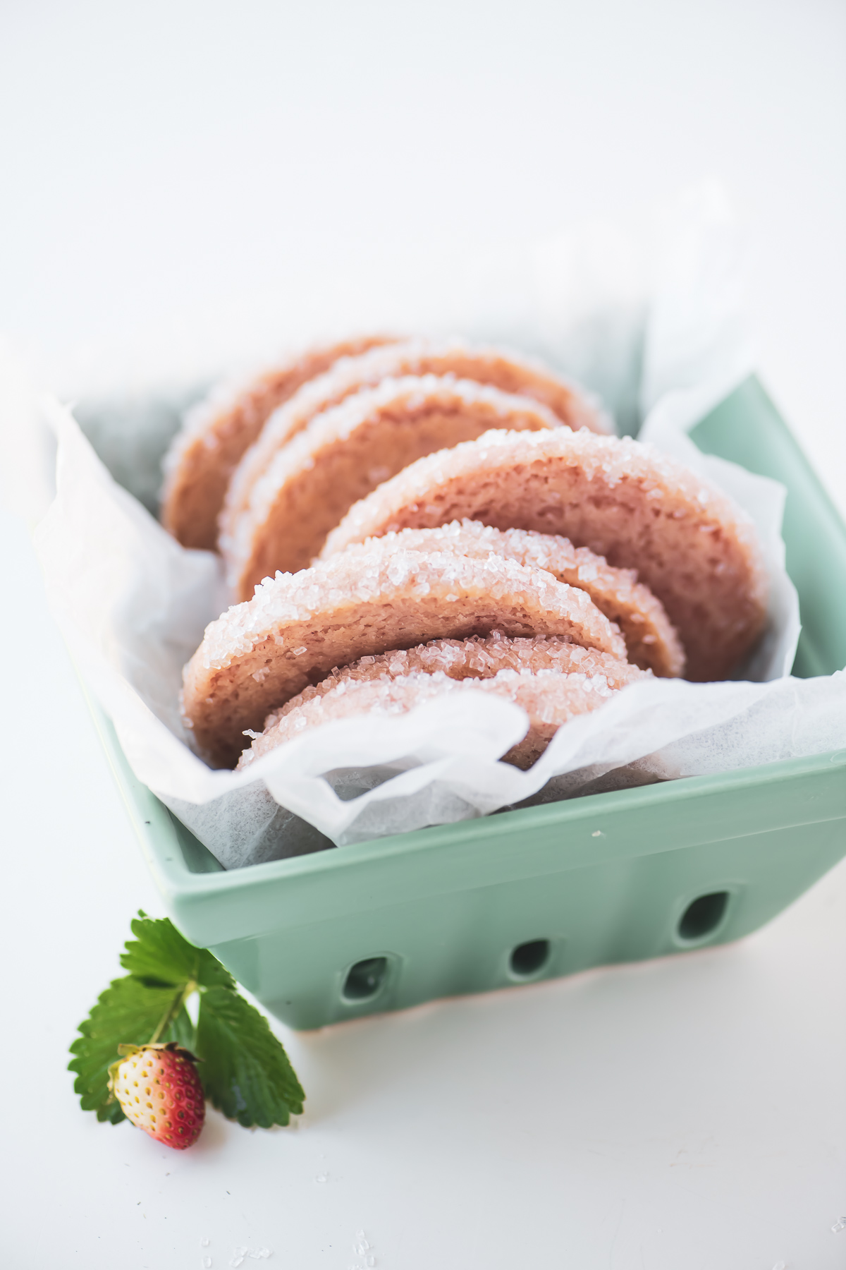 pale pink strawberry shortbread cookies