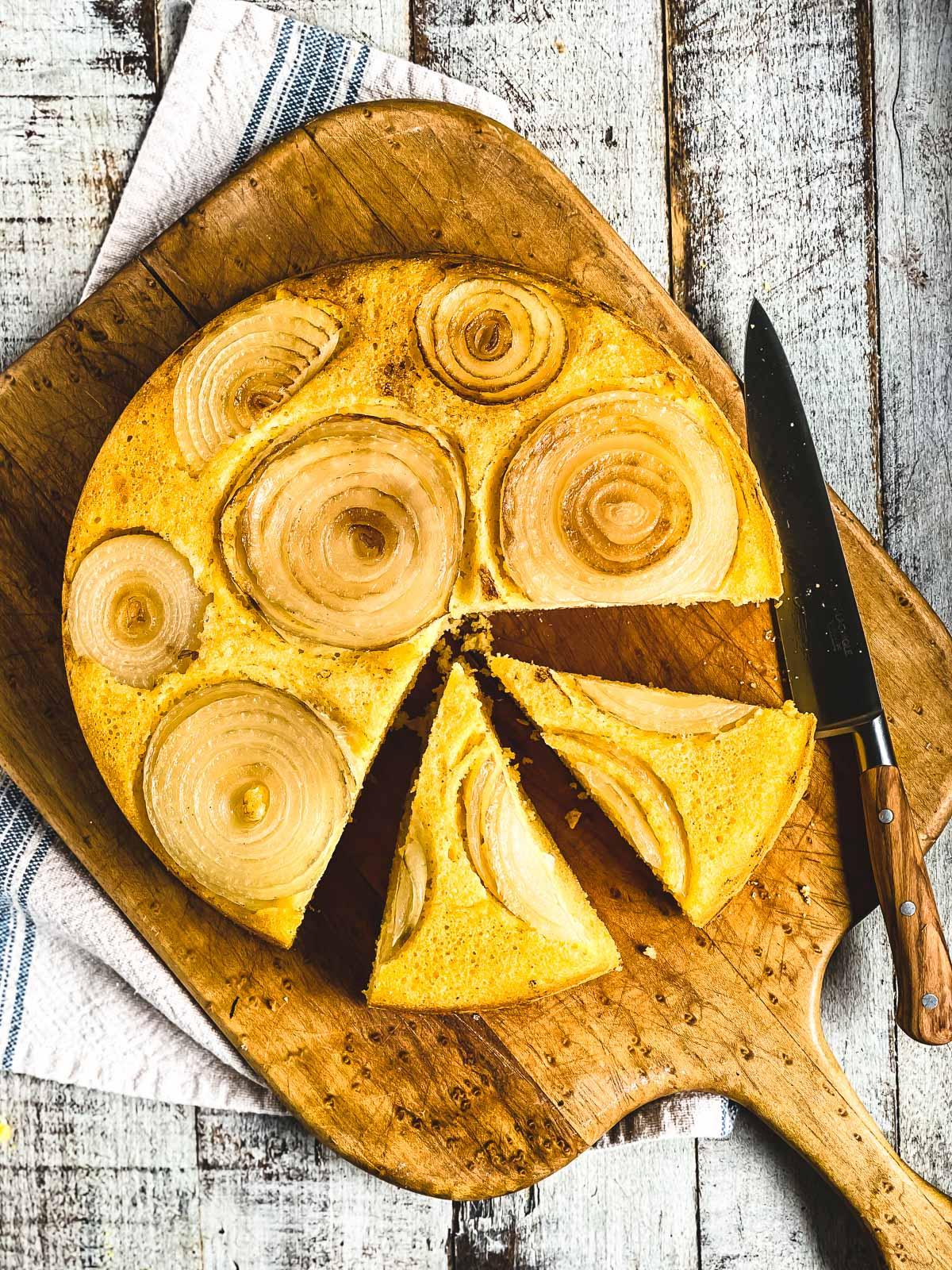 Vidalia onion cornbread on a cutting board
