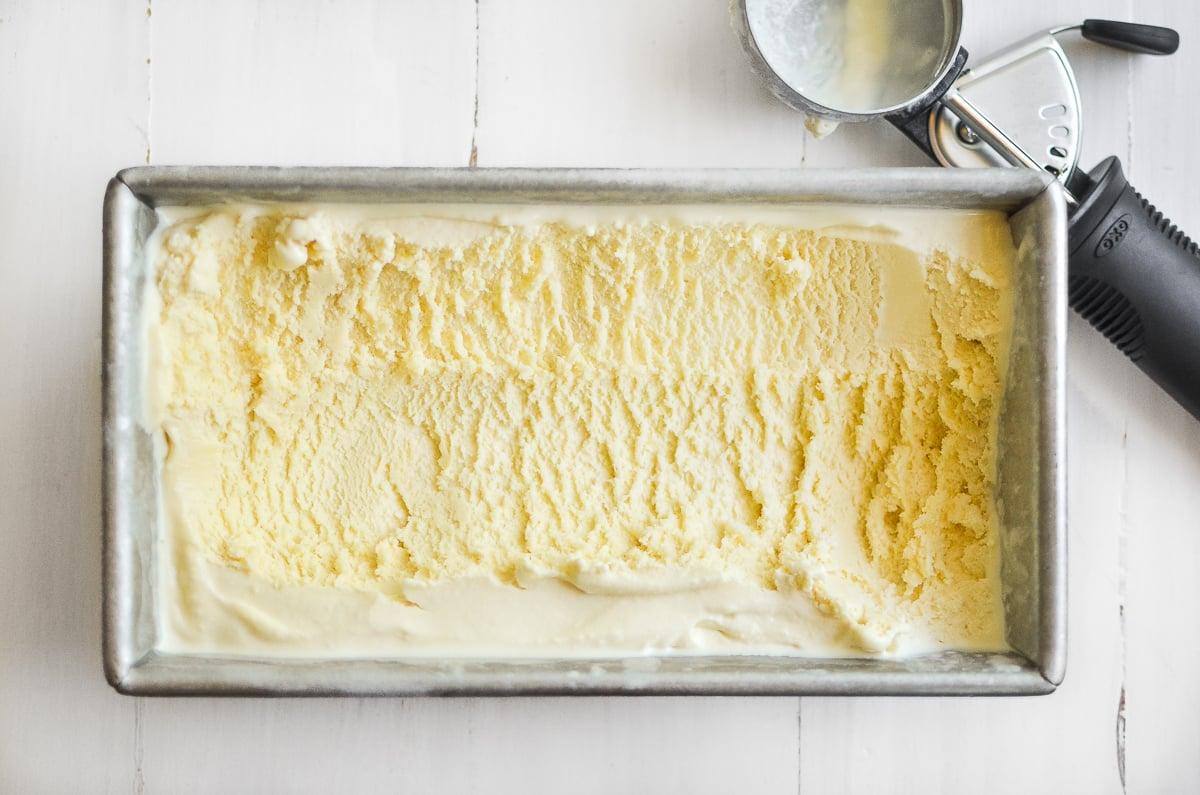Honey ice cream in a metal pan
