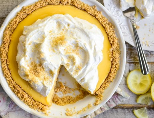 lemon icebox pie with a slice missing
