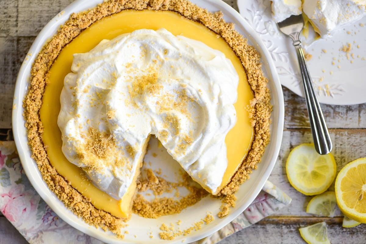 lemon icebox pie with a slice missing