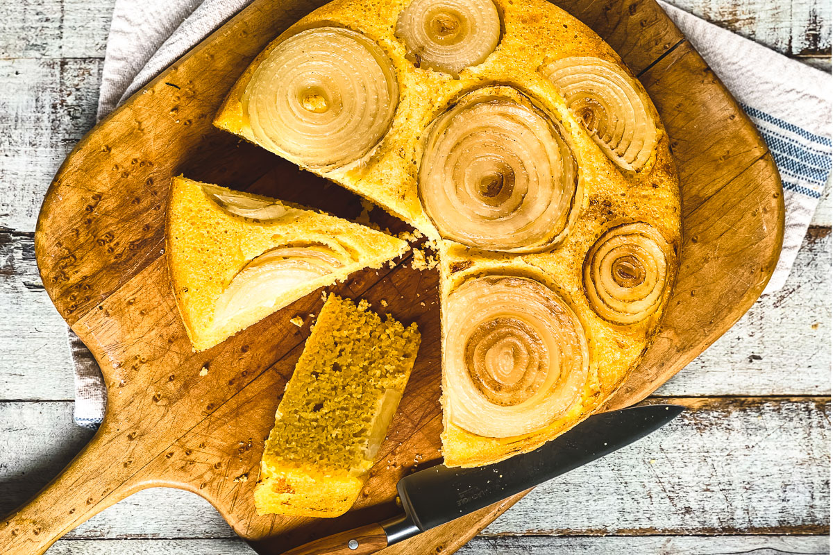 Sweet Vidalia Cornbread on a bread board