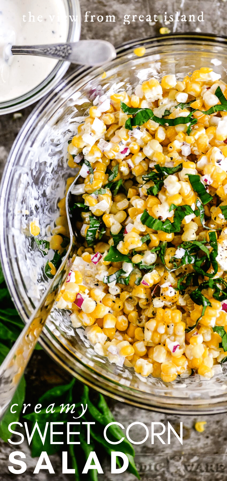 creamy sweet corn salad pin