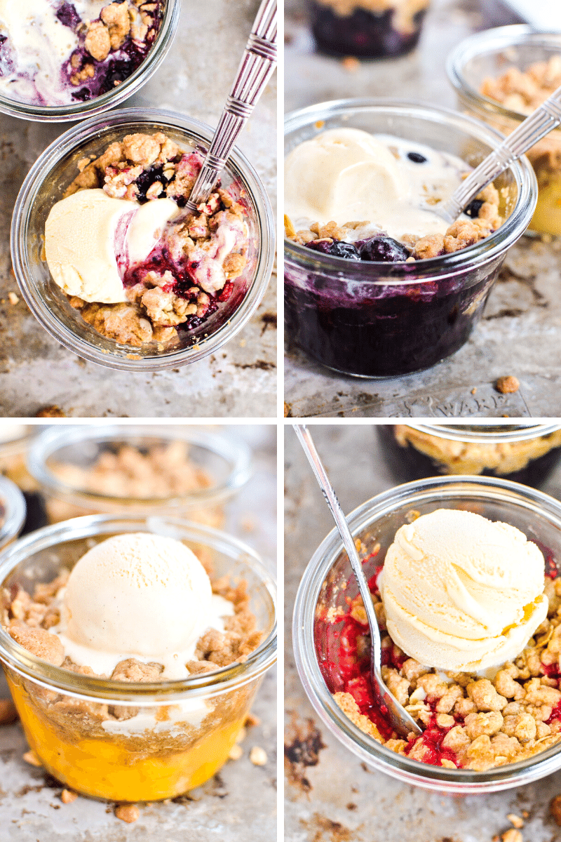 individual fruit crumbles made with a big batch crumble recipe