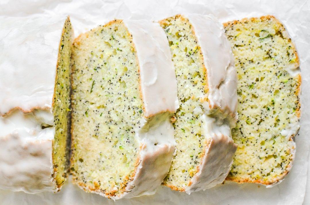 Lemon poppy seed zucchini cake, sliced.
