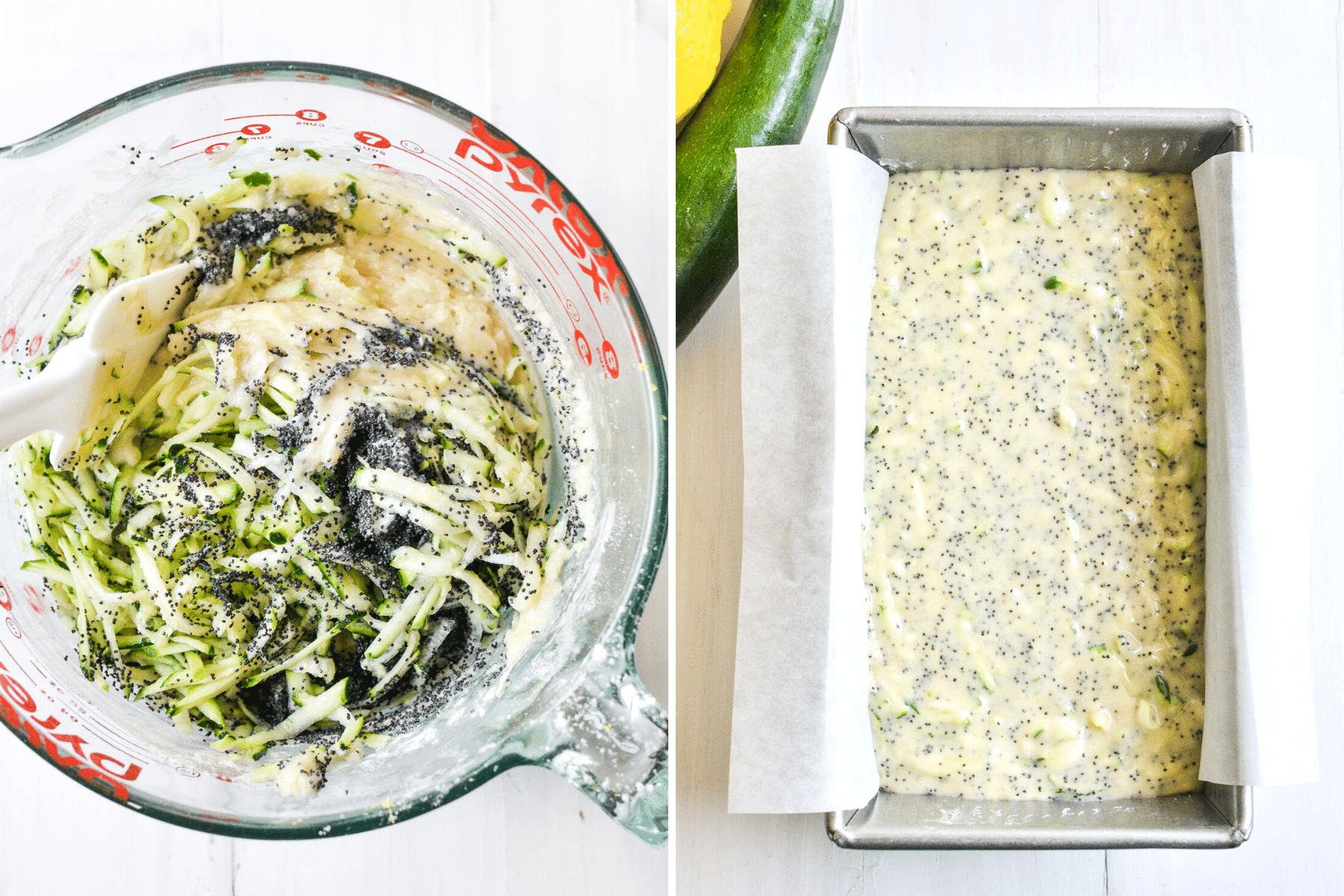 Mixing the batter for lemon poppy seed zucchini bread.