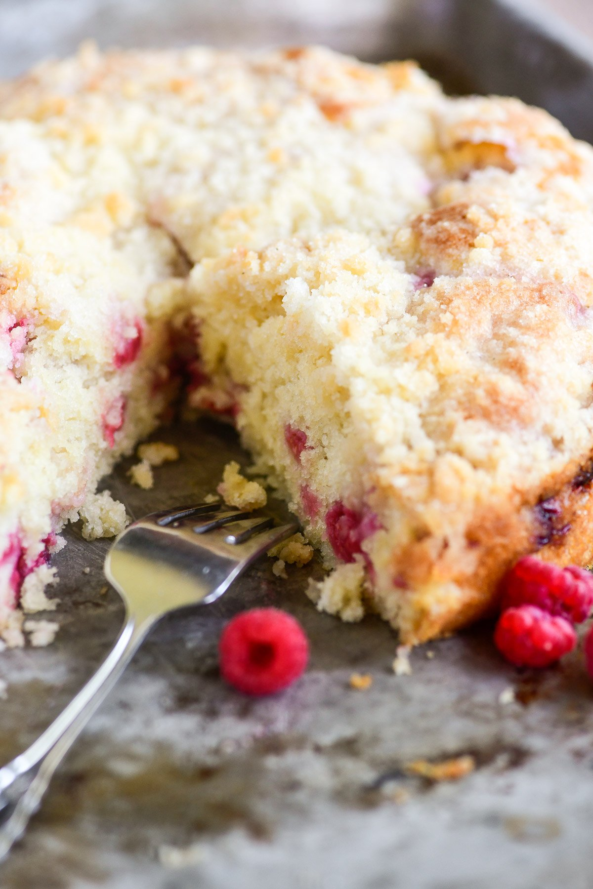 raspberry coffee cake with fork