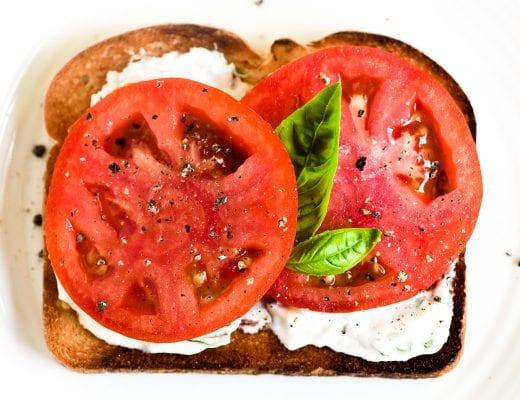 tomato toast with basil mayonnaise