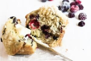 black raspberry muffin with butter