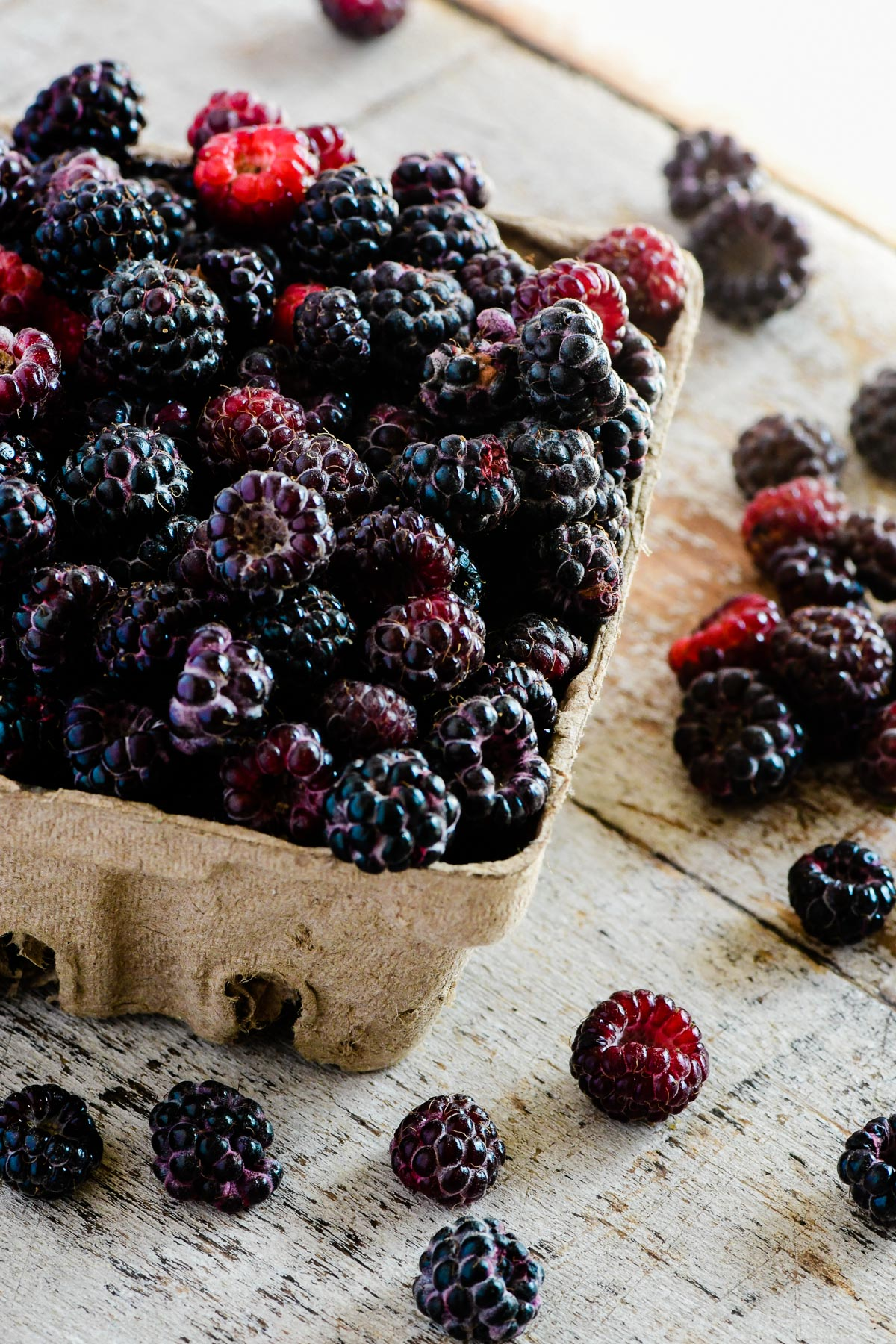 black raspberries in a berry box
