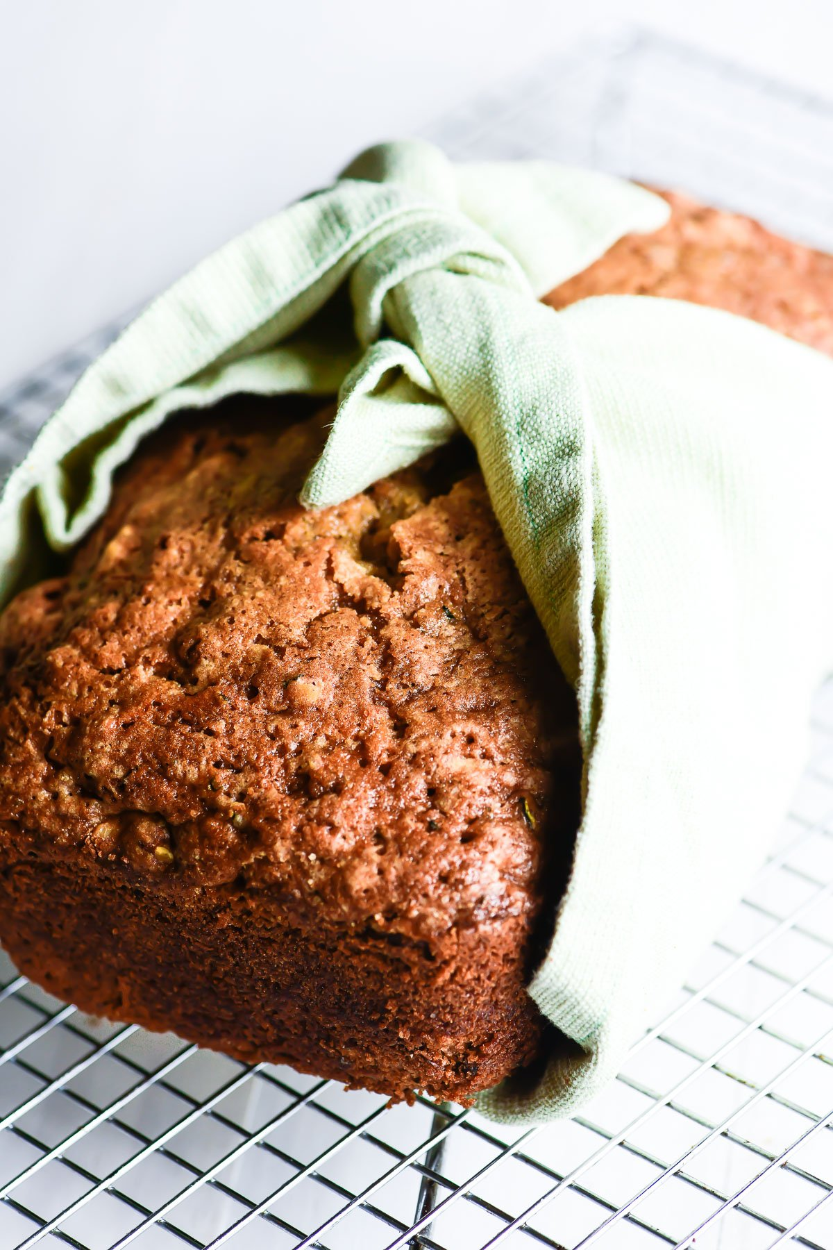 perfect zucchini bread, tied in a napkin