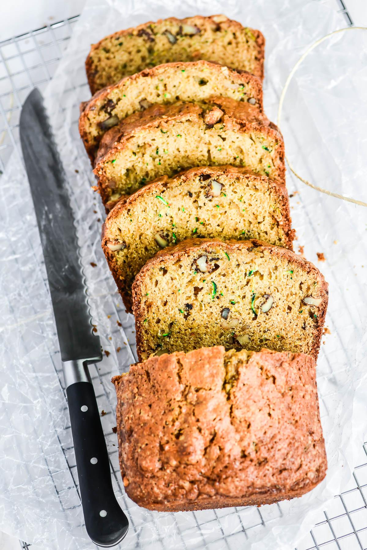 Zucchini bread, sliced