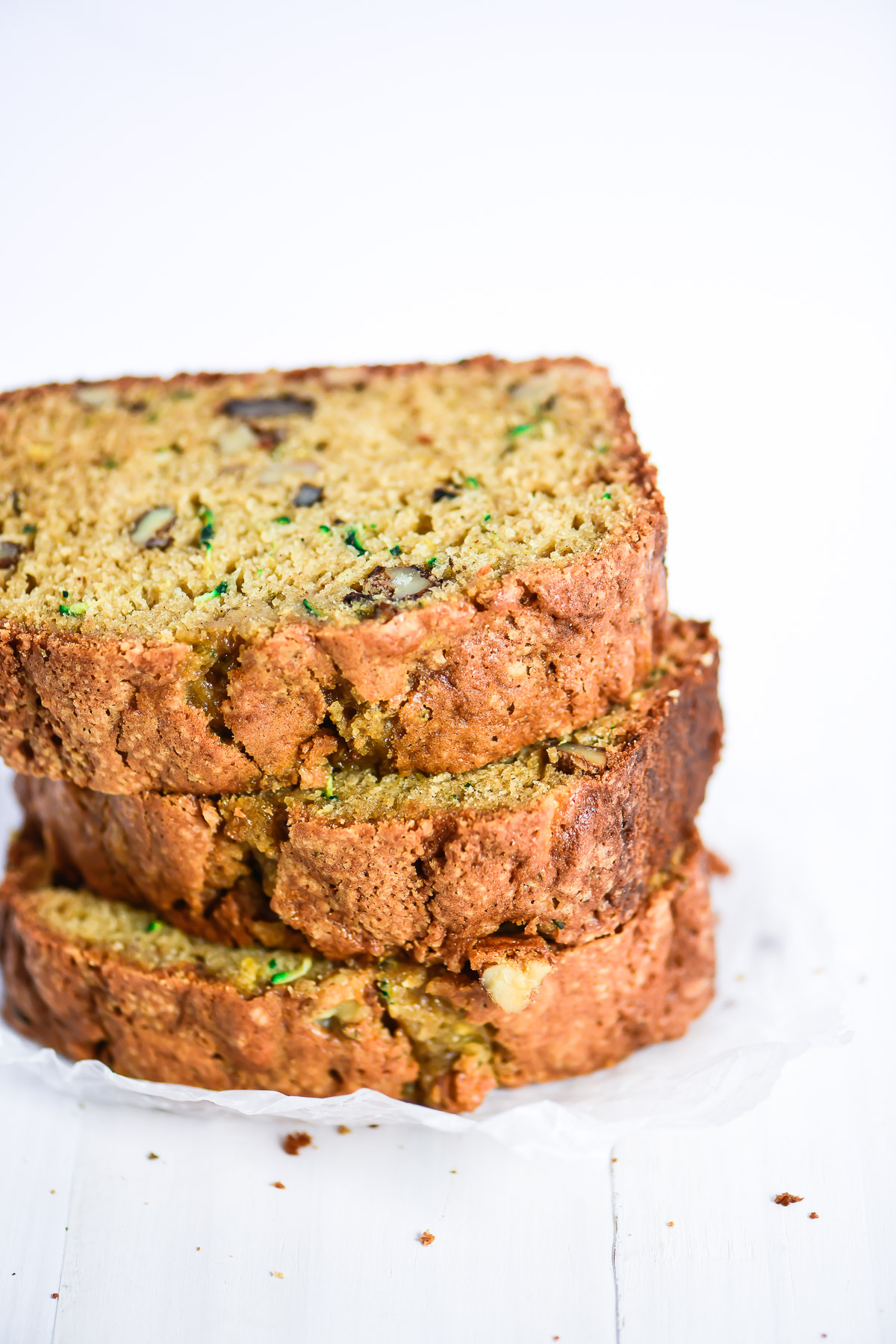 a stack of zucchini bread slices