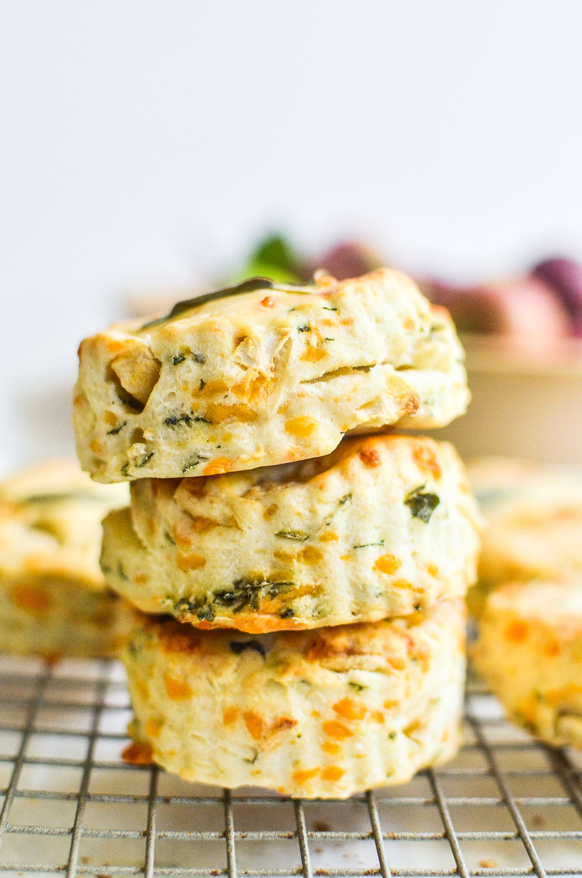 a stack of apple cheddar scones