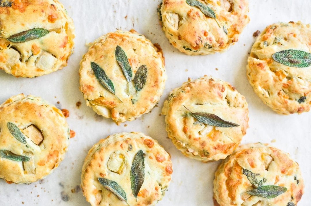 scones topped with sage