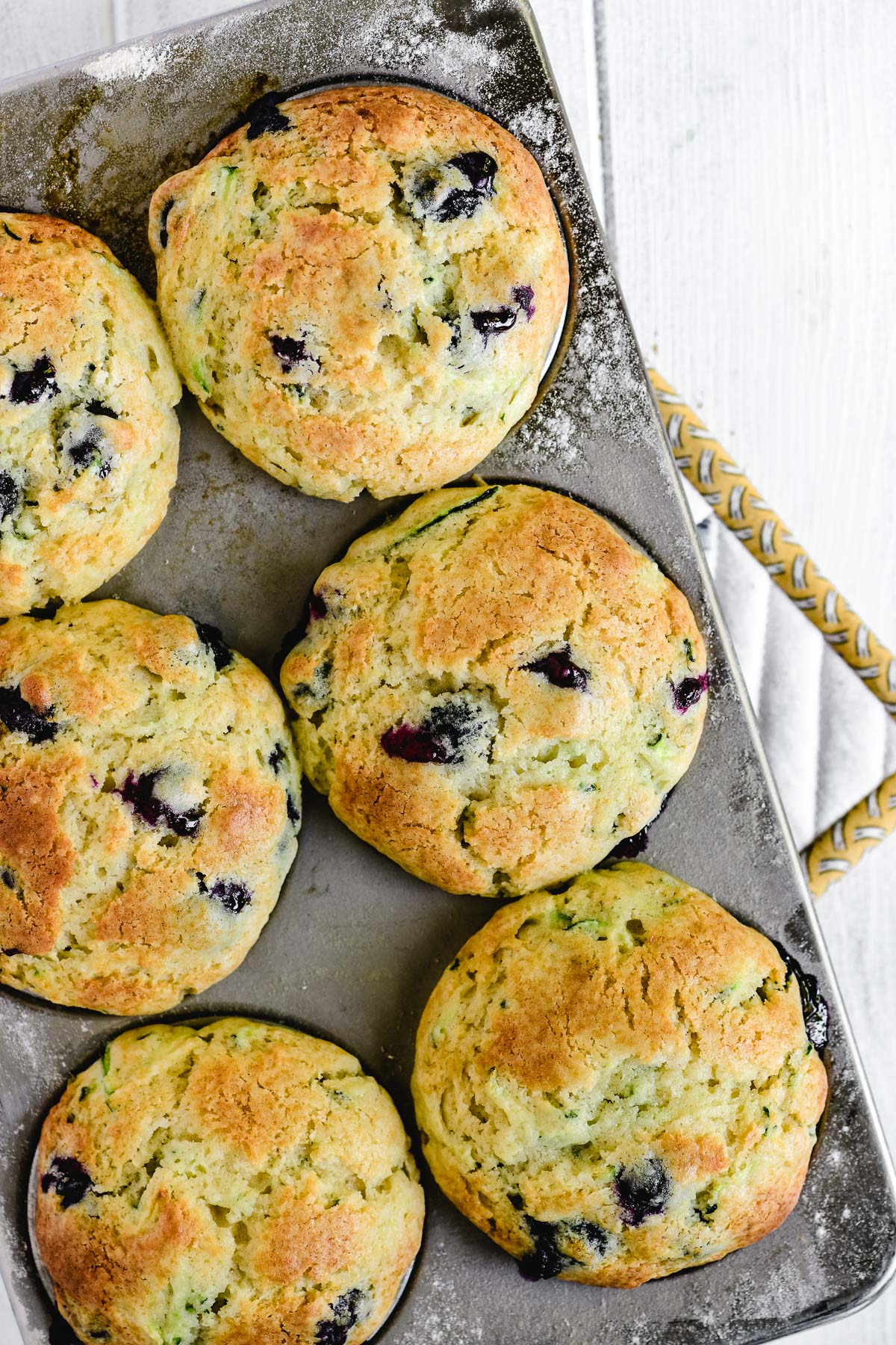 blueberry zucchini muffins just out of the oven